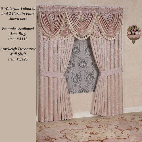 Princess Jacquard Scrollwork Waterfall Valance Blush 52 x 30