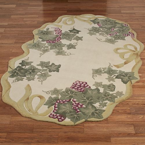 Ribbon and Grapes II Oval Rug Ivory