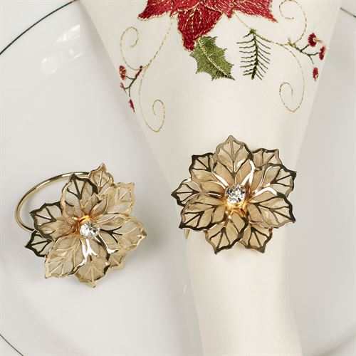 Poinsettia Lace Napkin Rings Gold Set of Four