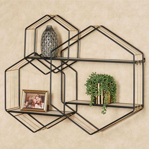 Macayle Hexagon Wall Shelf Black