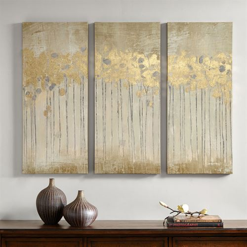 Golden Woods Triptych Canvas Wall Art Taupe Set of Three