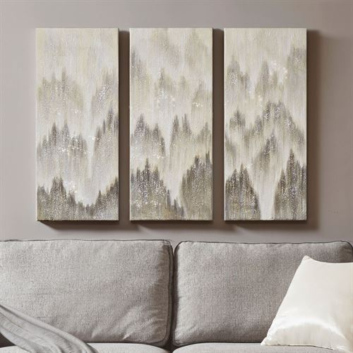 Silver Haze Triptych Canvas Wall Art Gray Set of Three