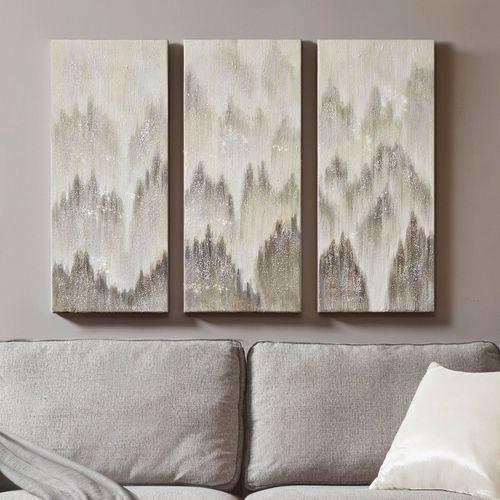 Silver Haze Triptych Canvas Wall Art Gray Set of Three