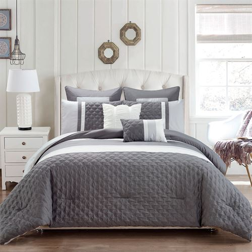 Sonya Comforter Bed Set Dark Gray