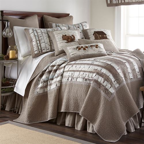 Birch Forest Rustic Quilt Silver Gray