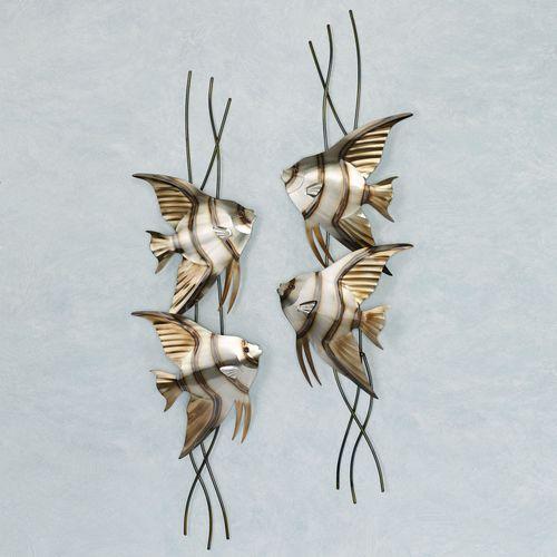 Angelfish Swimming Left Facing Wall Art Multi Metallic
