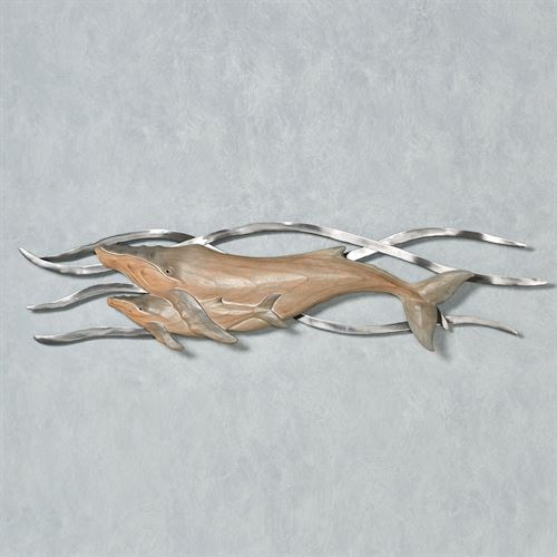 Whale Momma and Baby Wall Art Gray