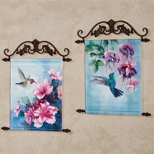 Hummingbird Hanging Canvas Wall Art Multi Bright Set of Two