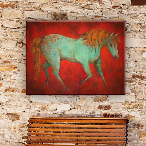 High Spirited Horse Canvas Wall Art Multi Warm