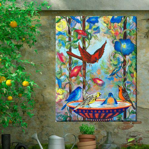 Pool Party Birds Canvas Wall Art Multi Bright