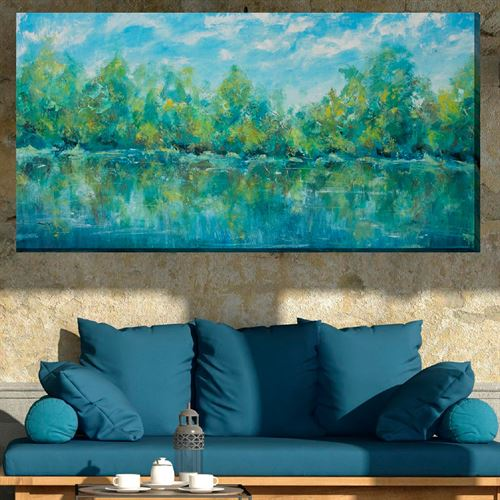 Blue Sky Pond Canvas Wall Art Multi Cool