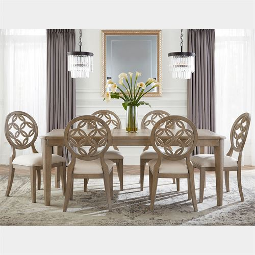 Hollace Rectangle Dining Table and Chairs Taupe Sand Set of Seven