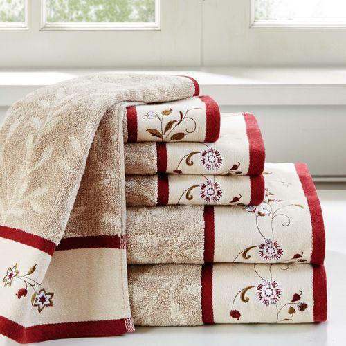 Floral Serenity Bath Towel Set Burgundy Six Piece Set