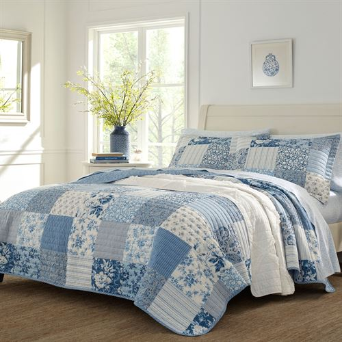 Paisley Printed Patchwork Mini Quilt Set Blue