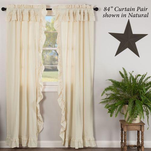 Muslin Ruffled Curtain Pair