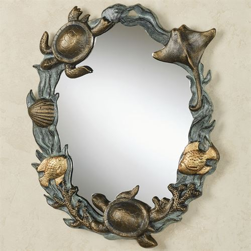 Turtle and Sealife Wall Mirror Antique Gold