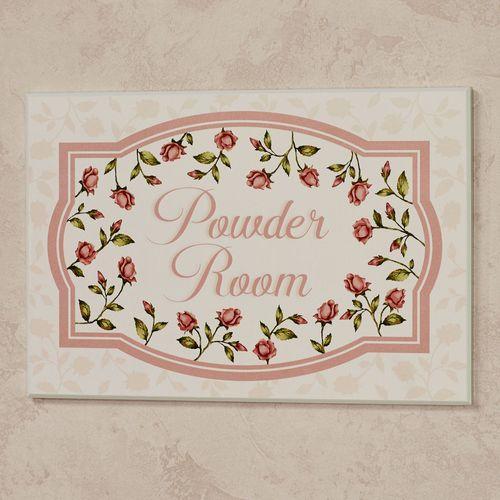 Bridal Rose Powder Room Wall Plaque Blush