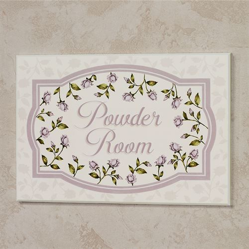 Enchanted Rose Powder Room Wall Plaque Lavender