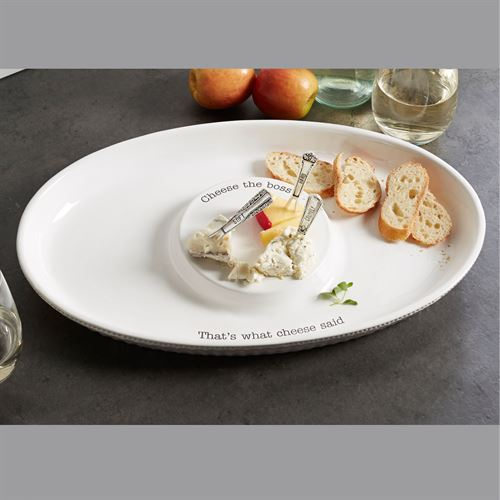 Circa Cheese the Boss Serving Dish and Forks White Four Piece Set