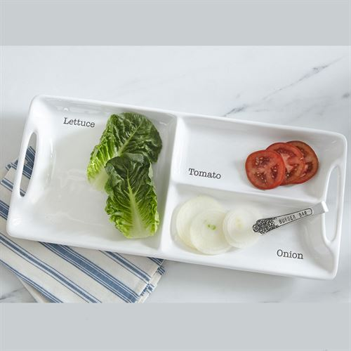 Circa Garnish Tray and Tongs White 2 Piece Set