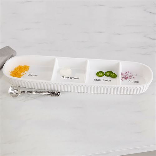 Circa Chili Bar Topping Serving Tray and Spoon White 2 Piece Set