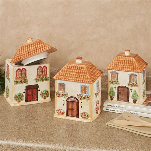 Piazzette Kitchen Canisters Multi Earth Set of Three