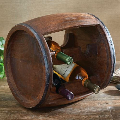 Wood Cask Wine Rack Brown