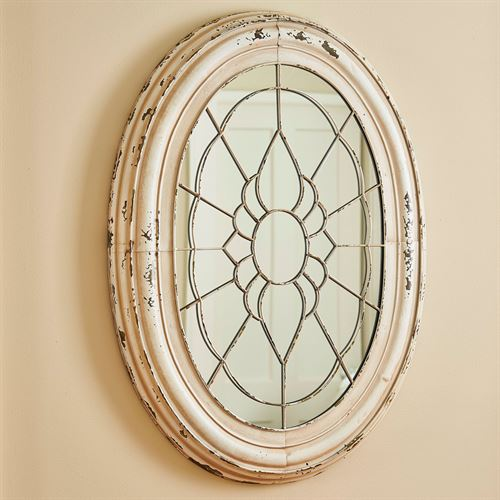 Oval Window Frame Wall Mirror Antique Ivory