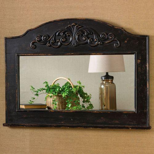 Rochella Rectangle Wall Mirror Antique Black