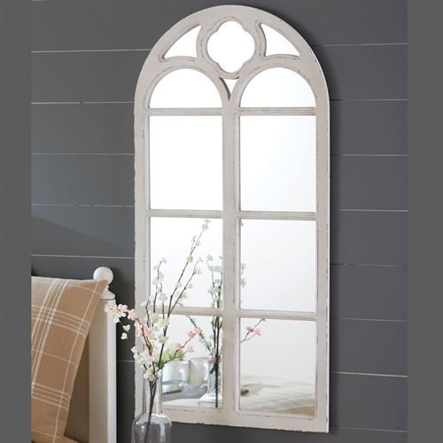 Arched Window Wall Mirror Antique White