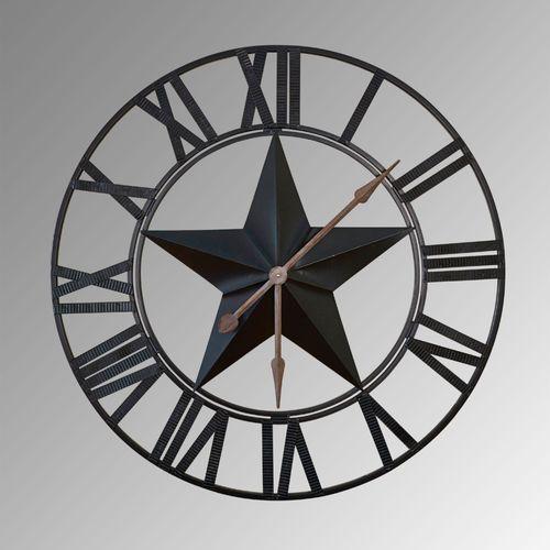Star Metal Wall Clock Black