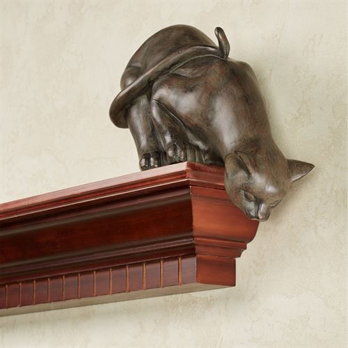 Curious Cat Shelf Sitter Aged Bronze