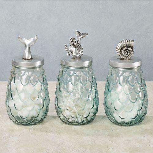 Sealife Decorative Covered Jars Aqua Set of Three