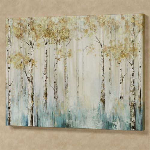 Leaves of Gold Canvas Wall Art Multi Cool