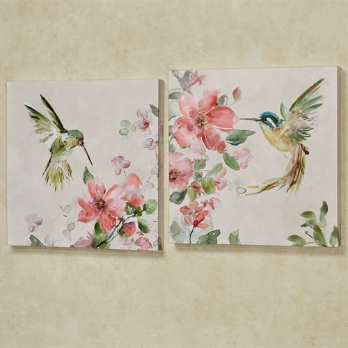 Sweet Nectar Hummingbird Canvas Wall Art Multi Bright Set of Two