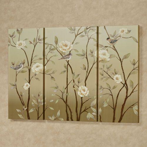 Vining Delight Triptych Canvas Wall Art Tan Set of Three