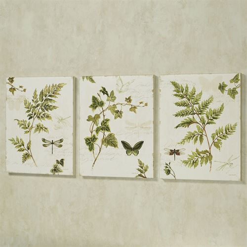 Ivies and Ferns Canvas Wall Art Antique White Set of Three