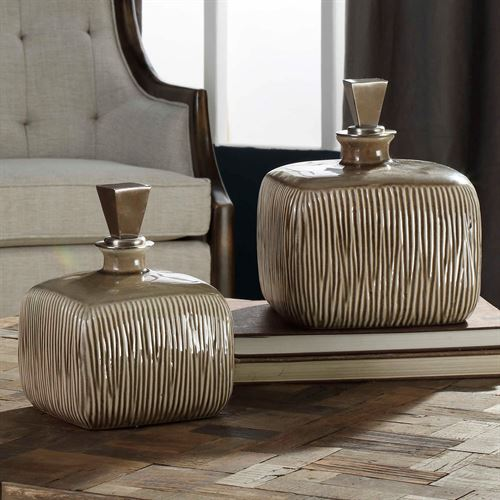 Cayson Decorative Bottles Light Taupe Set of Two