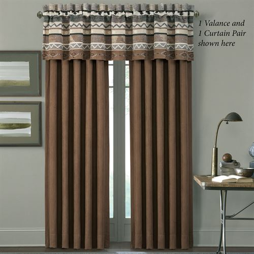 Timber Lined Wide Curtain Pair Multi Warm 100 x 84