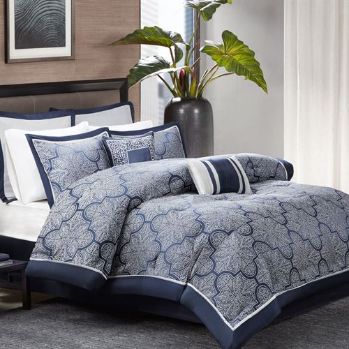 Mora Comforter Bed Set Cobalt