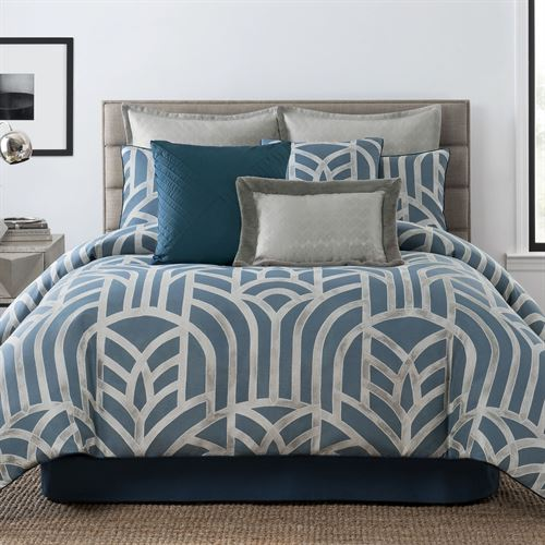 Mayfair Comforter Set Steel Blue