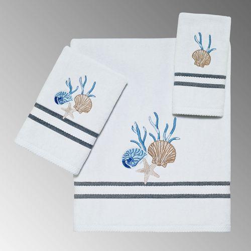 Blue Lagoon Bath Towel Set Off White Bath Hand Fingertip