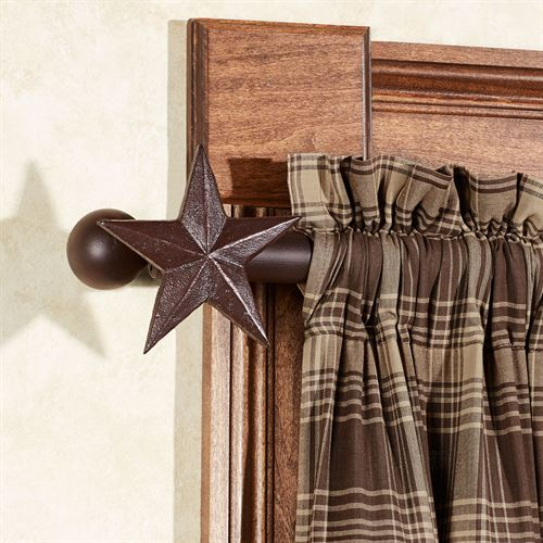 Star Decorative Curtain Rod Set Brown 44 to 80