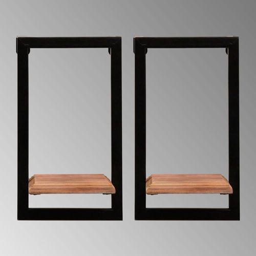 Aryana Rectangular Wall Shelves Black Set of Two