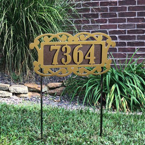 Fairway Estates II Yard Address Stake Gold/Bronze