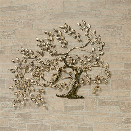 Whispering Tree Metal Wall Sculpture Gold