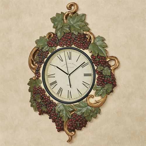 Vigne Elegante Grapes Wall Clock Dark Red