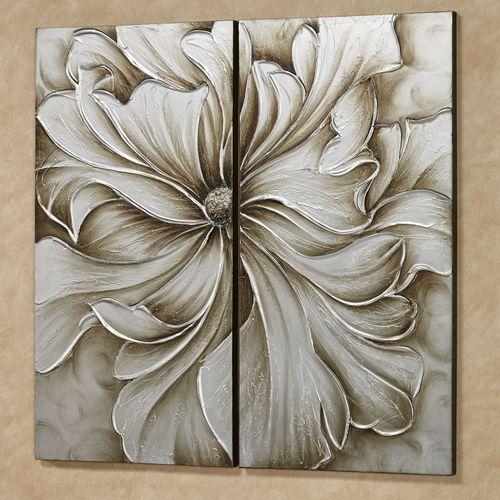 Alluring Blossom Canvas Wall Art Multi Metallic Set of Two