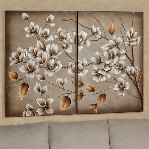 Branches in Bloom Canvas Wall Art Multi Metallic Set of Two