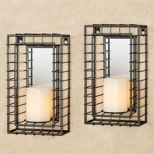 Wire Grid Wall Sconce Pair Gray